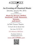 Le Petit Trianon Theatre, at 7pm 72 North 5th Street, Recital Hall San Jose, CA 95112