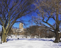 Winter Wonderland: The Cloisters. If you haven't been to the Cloisters, get there. It is the Metropolitan Museum of Art's Medieval leg that overlooks the Hudson River. Breathtaking.